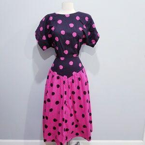 Vintage retro 80's polka dot party dress